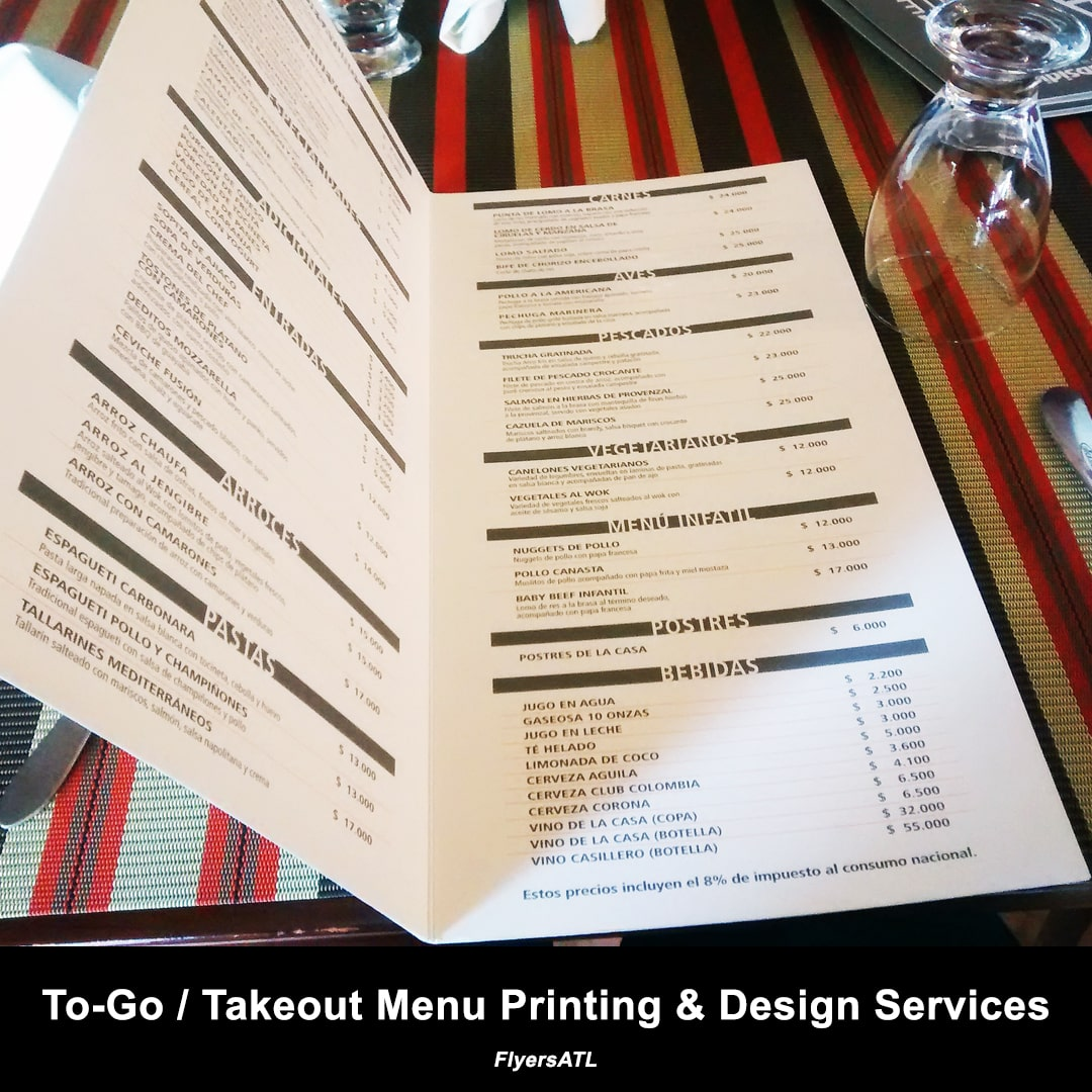 To-Go / Takeout Menu Printing & Design Service