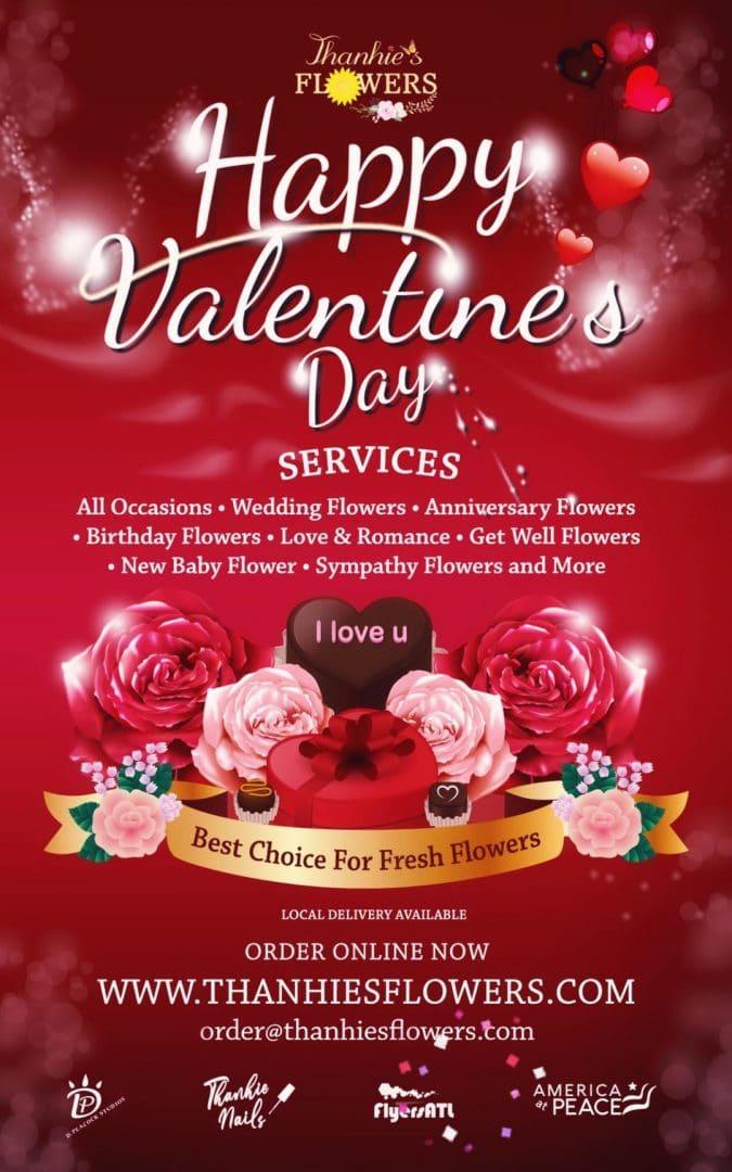Valentine Flowers Flyers Design & Printing Atlanta